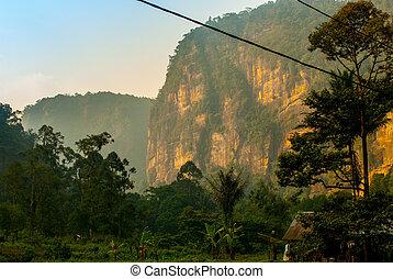 Cliff in golden evening light