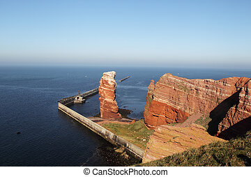 Tall Anna - Cliff line of Heligoland with the Tall Anna, the...