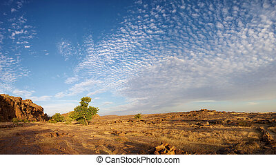 Cliff of Bandiagara in Dogon Land - Panoramic view of the ...