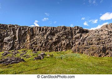 Cliff of lava rock, Thingvellir National Park, Iceland