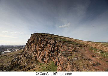 Cliff over Edinburgh, Scottland - A high resolution image of...