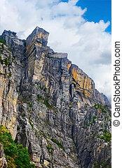 Cliff Preikestolen in fjord Lysefjord, Norway