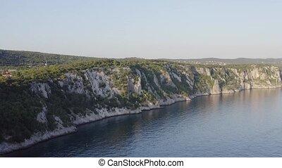 Cliff sea shore - Cliff above sea, rocky sea shore in Italy...