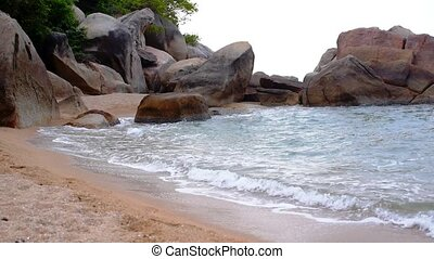 Cliffed Coast with Big Waves on the Picturesque Tropical...