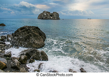 Cliffs Adalary next to village of Gurzuf (Big Yalta, Crimea, Ukraine). September 2007