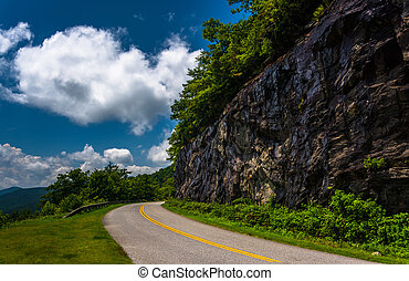 Cliffs along the Blue Ridge Parkway in North Carolina. -...