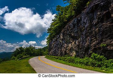Cliffs along the Blue Ridge Parkway in North Carolina. -...