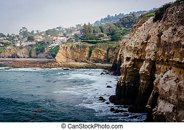 Cliffs along the Pacific Ocean, in La Jolla, California.