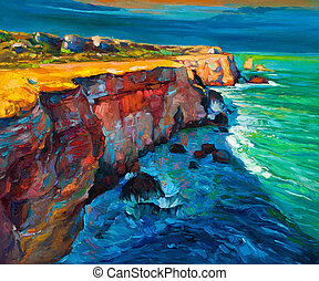 Cliffs and ocean - Original abstract oil painting of cliffs ...