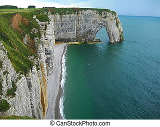 Cliffs at Etretat in Normandy France