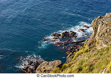 Cliffs in north of Flores island, Azores archipelago...