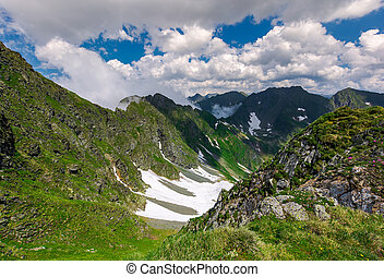 cliffs in the valley of Fagaras mountains. lovely summer...