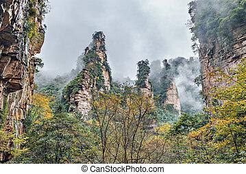 Cliffs in Zhangjiajie Forest Park.