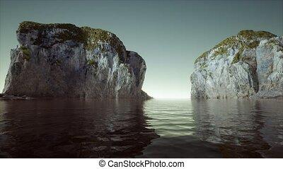 cliffs, islands, норвегия, 8k, rocks
