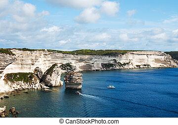 cliffs of Bonifacio, in Corse, France - a view of the ...