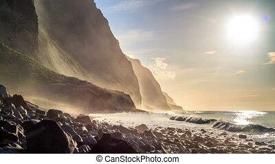Beautiful Atlantic waves crushing cliffs of Madeira, Portugal