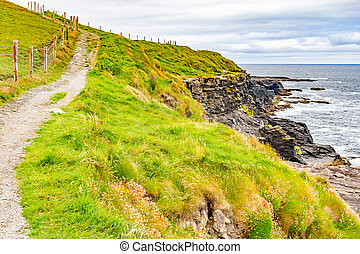 Cliffs of Moher trail with farm fields and ocean