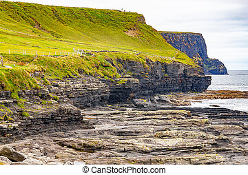 Cliffs of Moher trail with rocks and ocean