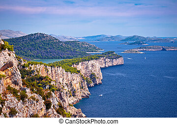 Cliffs of Telascica nature park on Dugi Otok island, Dalmatia archipelago of Croatia