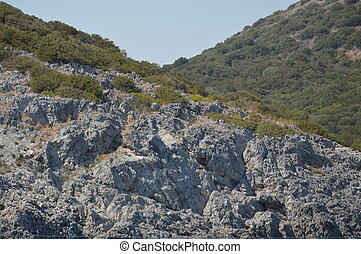 Cliffs of the Aegean Sea in Bodrum, Turkey