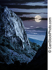 cliffs of Trascau mountains canyon at night in full moon...