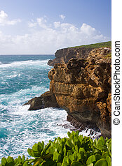 Cliffs on Kauai coast - View of the ocean and cliffs from...