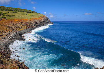 Cliffs on Rano Kau volcano in Easter Island, Chile
