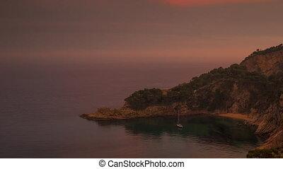 clifftop coast sea spain mediterranean timelapse sunset