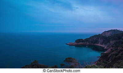 clifftop coast sea spain mediterranean timelapse - sunset...
