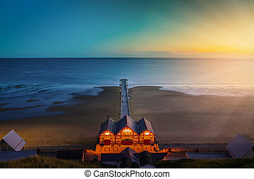 Clifftop view of Pier at twilight time of Saltburn by the Sea, North Yorkshire, UK. Vintage tone