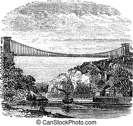 Clifton Suspension Bridge, in Clifton, Bristol to Leigh Woods, North Somerset, England, vintage engraving