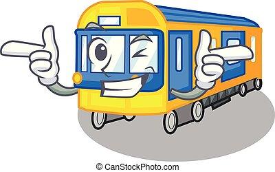 clignement, forme, train, métro, jouets, mascotte