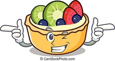 clignement, fruit, caractère, dessin animé, tarte