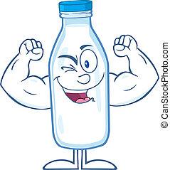 cligner, caractère, bouteille lait