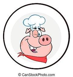 cligner, caractère, cochon, chef cuistot, cercle, bannière, ...