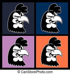 cligner, coloré, cartoon., vendange, caractère, coq, quatre...