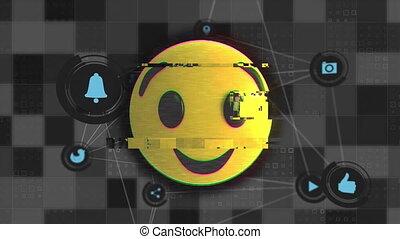 cligner, icônes, figure, emoji, contre, toile, connexions
