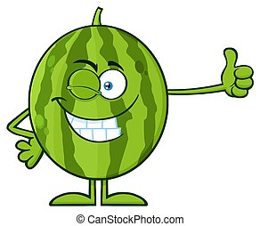 cligner, pouce, donner, vert, caractère, haut, fruit, ...