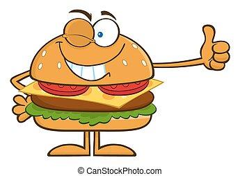 cligner, projection, hamburger, pouces haut