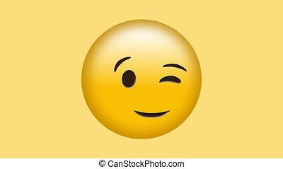cligner, sourire, emoji