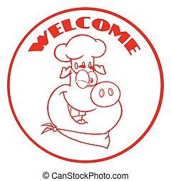 cligner, texte, accueil, caractère, cochon, chef cuistot, cercle, bannière, dessin animé, rouges, mascotte
