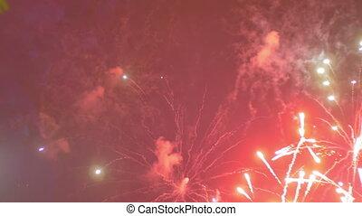 clignotant, feux artifice, ciel, nuit