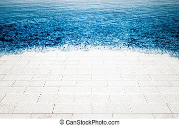 clima, chão, sendo, inundado, mar, mármore, mudança