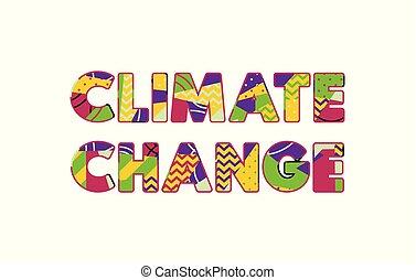 clima, conceito, palavra, ilustração, arte, mudança