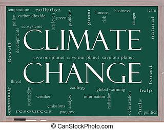 clima, conceito, palavra, quadro-negro, mudança, nuvem