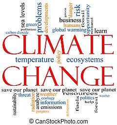 clima, concepto, palabra, cambio, nube