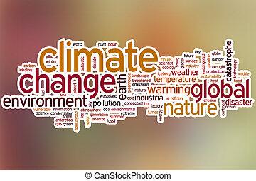 clima, palabra, resumen, nube, plano de fondo, cambio