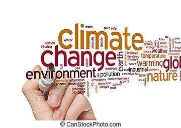 clima, palavra, mudança, nuvem
