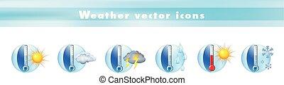 clima, set, icone, temperature., meteorologia, -, illustrazione, simboli, forecast., vettore, termometro, segni, tempo, 3d