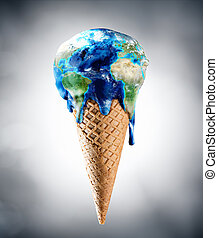 climat, -, changement, mondiale, crème, glace